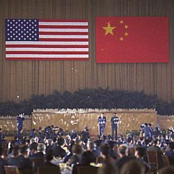 Nixon and Chou En-Lai speaking at a banquet