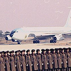 Arrival of Air Force One in Peking