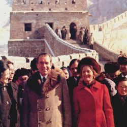 President and Mrs. Nixon visit the Great Wall of China and the Ming tombs