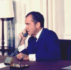 Richard M. Nixon on the phone in the oval office talking to Astronaunts on the moon
