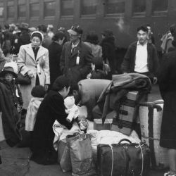 Japanese Near Trains During Relocation