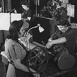 [National Youth Administration] NYA: Springfield, Massachusetts: women operating machinery