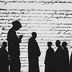 WPA: Federal Theater Project: figures silhouetted against backdrop of Constitution:untitled