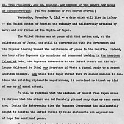 Transcript of Message to Congress Requesting Declaration of War Against Japan