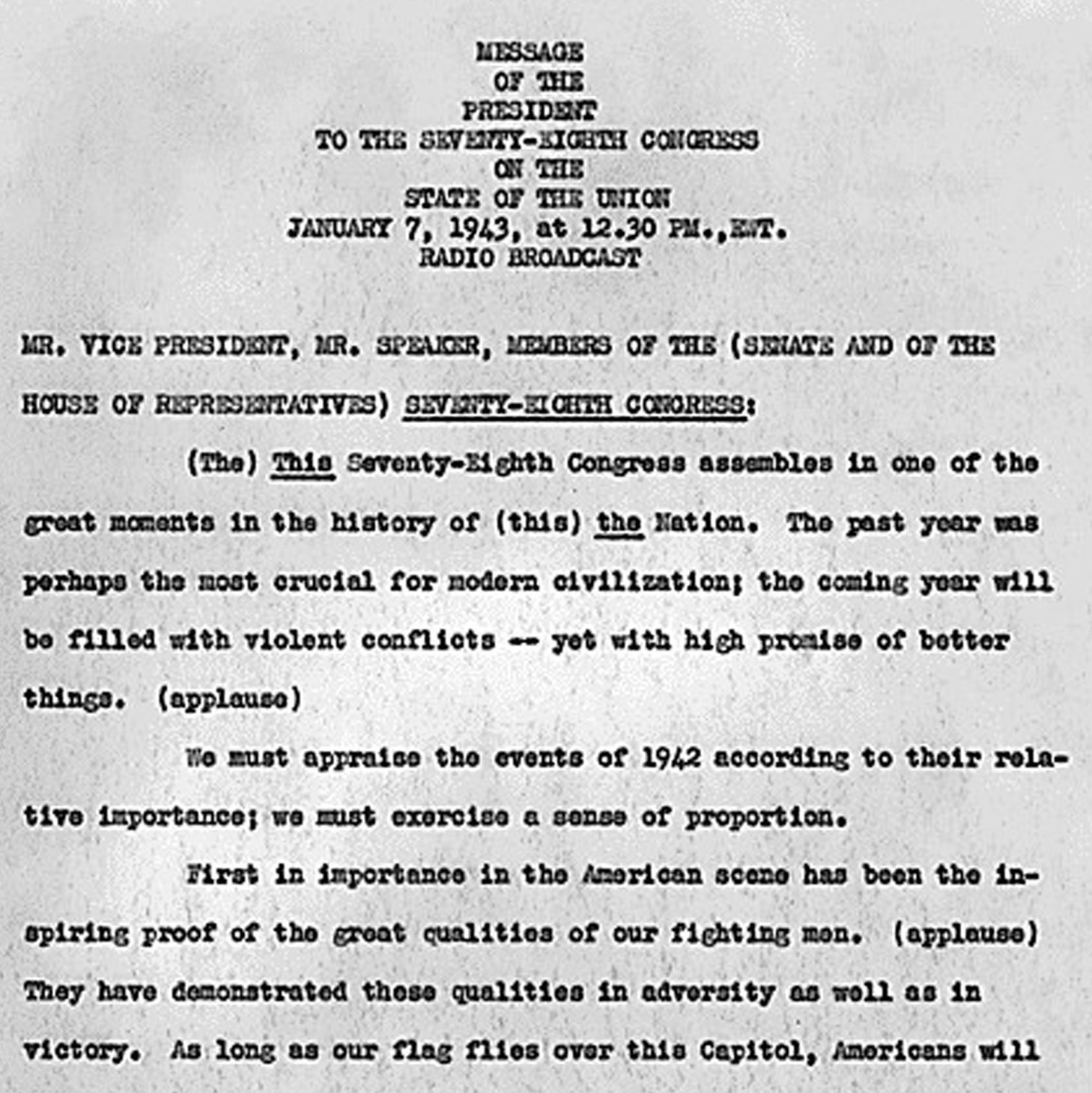 Franklin D. Roosevelt State of the Union Address