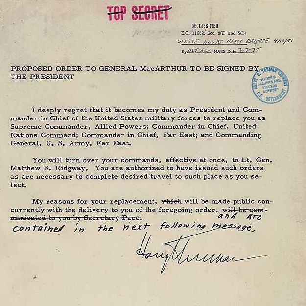 Proposed Orders and Statement on Dismissal of General MacArthur