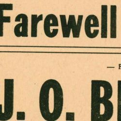 Flier for the Final Farewell Meeting for J. O. Bentall