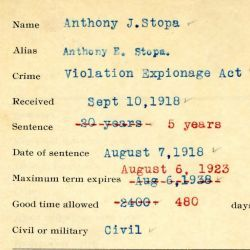 Intake Sheet for Anthony J. Stopa
