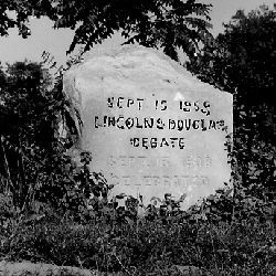 Photograph of Marker at the Site of Lincoln Douglas Debate in the Delta Administrative Site