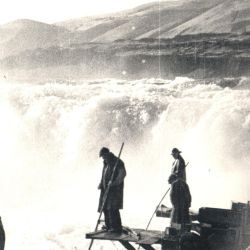 Fisherman at Celilo Falls on the Columbia River, Oregon
