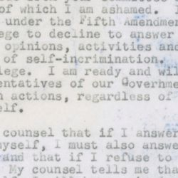 Letter to the House UnAmerican Activities Committee (HUAC) from Lillian Hellman Regarding Testimony