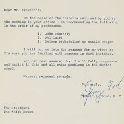 Letter from Gerald Ford to President Richard Nixon Regarding Vice President Candidates