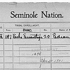 Enrollment Card for Seminole Census