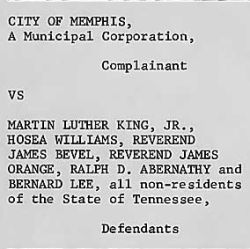 Answer to Plaintiff from City of Memphis vs. Martin Luther King, Jr