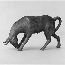Wood Carving of a Bull by Carl McCoy, Cherokee Reservation, North Carolina