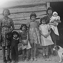 """Typical Chippewa Indian home."" Turtle Mountain Res., North Dakota"