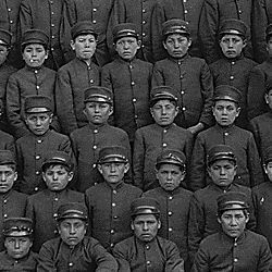Class of boys in uniform at the Albuquerque Indian School