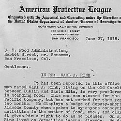 American Protective League to U. S. Food Administration re: Carl A. Rink