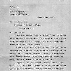 Certified Copies of the Official Correspondence by and between His Excellency, Theodore Roosevelt, President of the United States, and the Hon. John Sparks, Governor of Nevada, Relating to the Call, P
