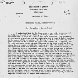 Memo Recommending the Attorney General be Consulted Regarding the Treatment of the Japanese Minority