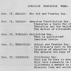 Calendar for American Education Week, outlining what may be done at Fort Bidwell School, California