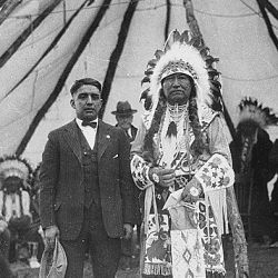 Chief Tendoi (Tendoy), Shoshone? at Fort Hall Reservation, George LaVatta, interpreter