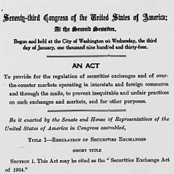 "Act of June 6, 1934 (""Securities Exchange Act""), Public Law 73-291, 48 STAT 881, ""to provide for the regulation of securities exchanges and of over-the-counter markets operating in interstate and fore"