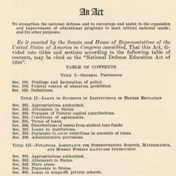 Act of September 2, 1958 (National Defense and Educational Act of 1958), Public Law 85-864, 72 STAT 1580, to strenghten the national defense and to assist in the expansion and improvement of education