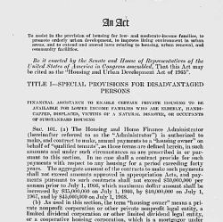 Act of August 10, 1965 (Housing and Urban Development Act of 1965), Public Law 89-117, 79 STAT 451, which assisted in the provision of housing for low-and moderate-income families, promoted orderly ur