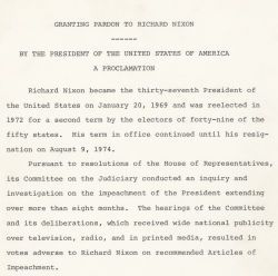 Presidential Proclamation 4311 of September 8, 1974, by President Gerald R. Ford granting a pardon to Richard M. Nixon.