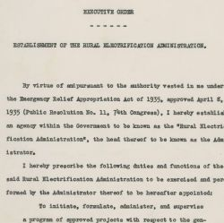 Executive Order 7037 dated May 11, 1935 in which President Franklin D. Roosevelt establishes the Rural Electrification Agency