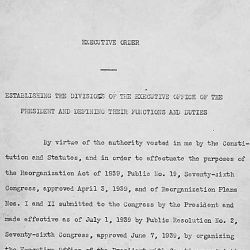 Executive Order 8248 dated September 9, 1939, in which President Franklin D. Roosevelt establishes the divisions of the Executive Office of the President and defines their functions and duties.