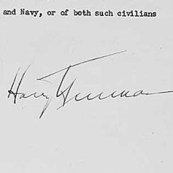 Executive Order 9568 dated June 8, 1945, in which President Harry S. Truman provides for the release of scientific and technical data previously withheld from public disemination for the purpose of na