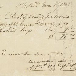 Receipt for Wine and Kegs Purchased by Meriwether Lewis for the Expedition to the West