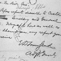 Telegram from Adjutant General of the U.S. Army, Washington, DC, to Assistant Adjutant General in Chicago, Asking for Reports on Custer