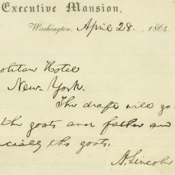 Telegram from President Abraham Lincoln to Mrs. Lincoln, Responding to her Request for a $50 Draft and News of their Young Son