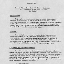"Draft Plan Entitled ""A State-Defense Contingency Plan for a Coup in Cuba"""