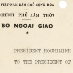 Telegram from Ho Chi Minh to President Harry S. Truman