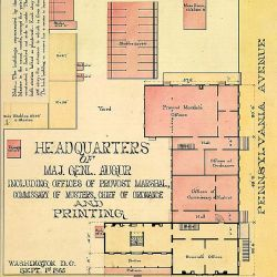 Headquarters of Maj. Genl. Augur, Including Offices of Provost Marshal, Commissary of Musters, Chief of Ordnance and Printing. Washington, D.C., Sept. 1st, 1865. [Ground plan of the buildings located