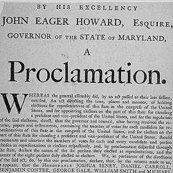 Proclamation of Governor John Eager Howard announcing the election of the electors of the state of Maryland