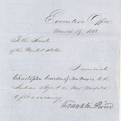 Message of President Franklin Pierce Nominating Kit Carson to be Indian Agent in New Mexico