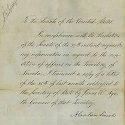 Message from President Lincoln Regarding the Nevada Territory