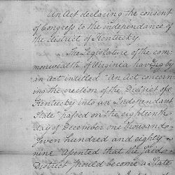 A bill declaring the consent of Congress to the Independence of Kentucky
