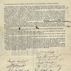 Petition of citizens of Minnesota praying for a grant of land for the establishment of a telegraph from St. Paul, to the telegraphic lines south and east