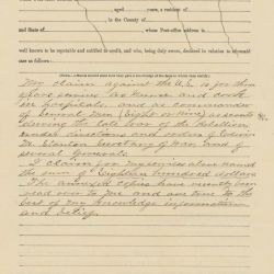 Affidavit of Harriet Tubman for Her Claim for a Pension