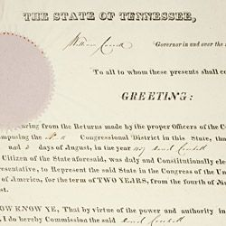 Credential of Election for David Crockett