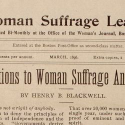 """Objections to Woman Suffrage Answered,"" by Henry Blackwell"