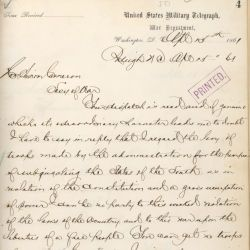 Telegram from Governor John W. Ellis of North Carolina Responding to Abraham Lincoln