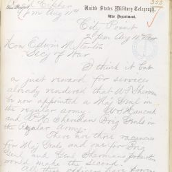 Letter from Ulysses S. Grant to Secretary of War Edwin M. Stanton
