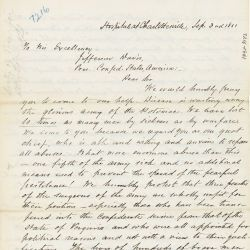 Letter from Patients at a Confederate Hospital in Charlottesville, Virginia to President Jefferson Davis
